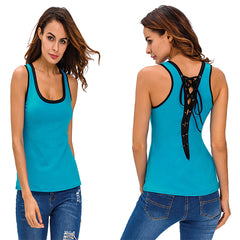 Contrast Trim Lace-up Back Tank Top - Online Women Vests & Waistcoats Dress