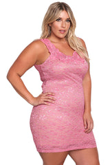 Pink Plus Size Floral Lace Bodycon Dress