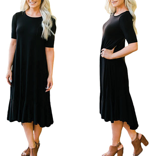 Flowy Ruffles Short Sleeve Casual - Online Women Jersey Dress