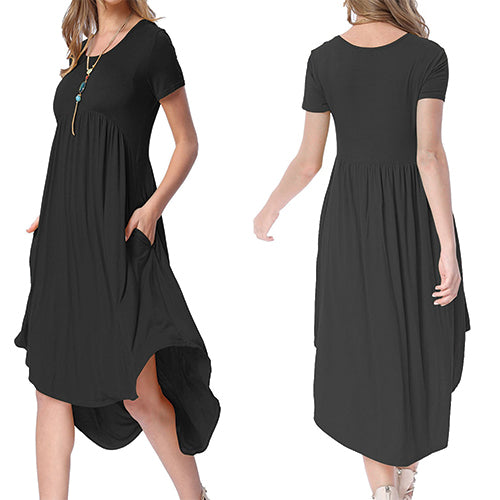 Black Short Sleeve High Low Pleated - Online Women Jersey Dress