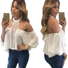 Chocker Neck Bare Shoulders Flare Crop Top - Online Women Tops