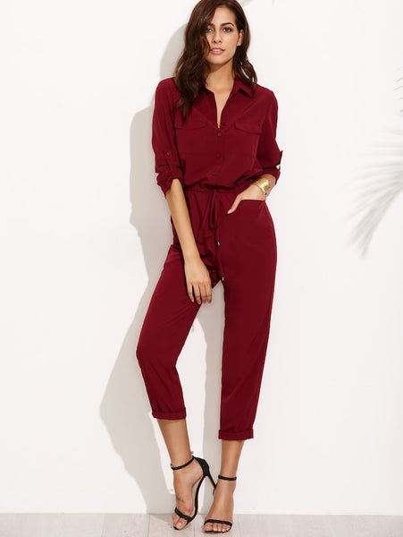 Tie Waist Long Sleeve Jumpsuit