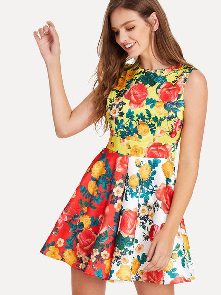 Round Neck Flower Print Skater Dress