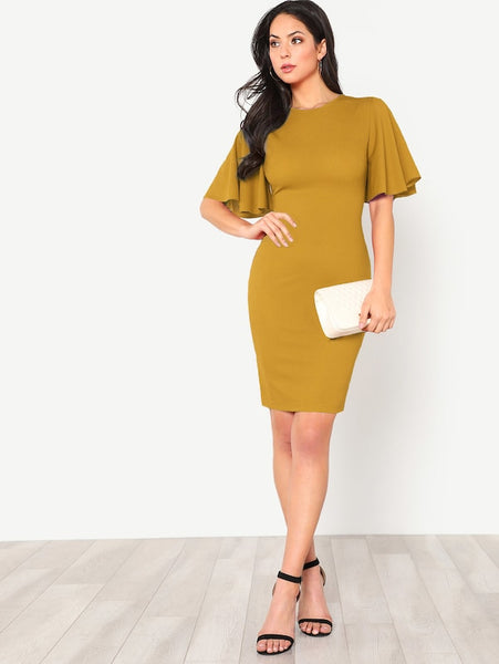 Back Zip Pencil Dress