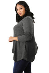 Grey Crisscross Yoke Knit Plus Size Top