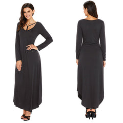Y Strap Neckline Relaxed Long - Online Women Jersey Dress