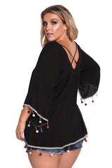 Black Plus Size Crepe Pom Pom Cross Strap Blouse