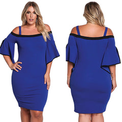 Bell Sleeve Bodycon Dress - Online Women Plus Size Dress