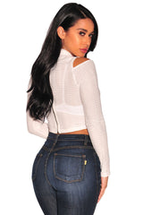 White Textured Arched Long Sleeves Crop Top