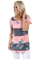 Floral and Striped Casual T-shirt - Online Women Tops