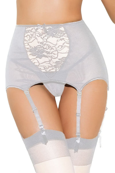 White Plus Size High-waisted Lace Hollow-out Garter Belt