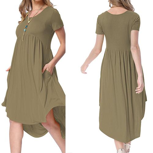 Army Green Short Sleeve High Low Pleated Casual Swing Dress - Online Women Jersey Dress