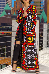 Long Geometric Printed Coat