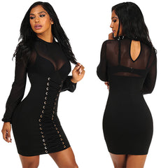 Grommet Crisscross Detail Sheer Long Sleeve - Online Women Club Dresses