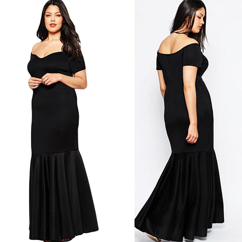 Off Shoulder Fishtail Maxi Dress - Online Women Plus Size Dress