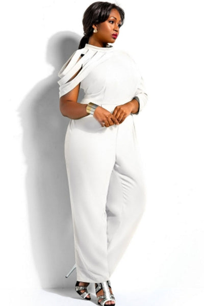 White Asymmetric Sleeves High Waist Plus Size Jumpsuit