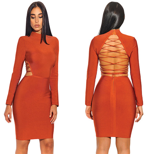 Back Detail Long Sleeve Bandage Dress - ONLINE WOMEN Sequin DRESS