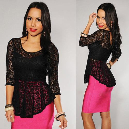 Allover Lace Extreme Peplum - Online Women Clubwear Top