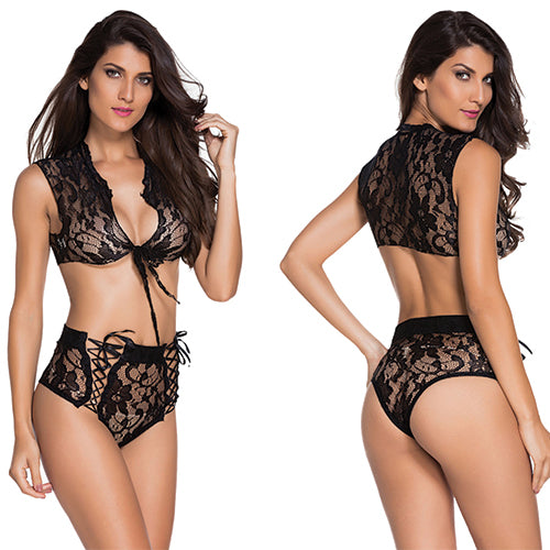 Lace Tie Front Top and High Waisted Panty - Online Women Short sets