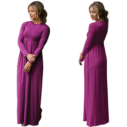 Purple Long Sleeve High Waist Maxi Jersey Dress - Online Women Jersey Dress