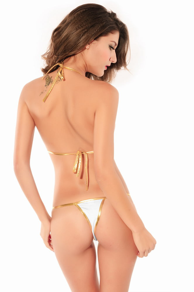 Gold-White Fashion Bikini Set