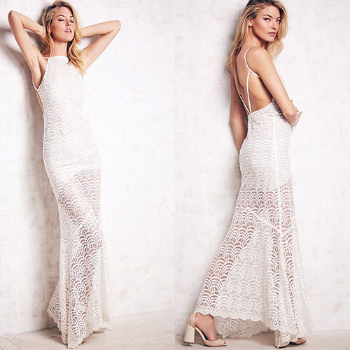 Lacy Fish Scale Open Back - Online Women Evening Dress