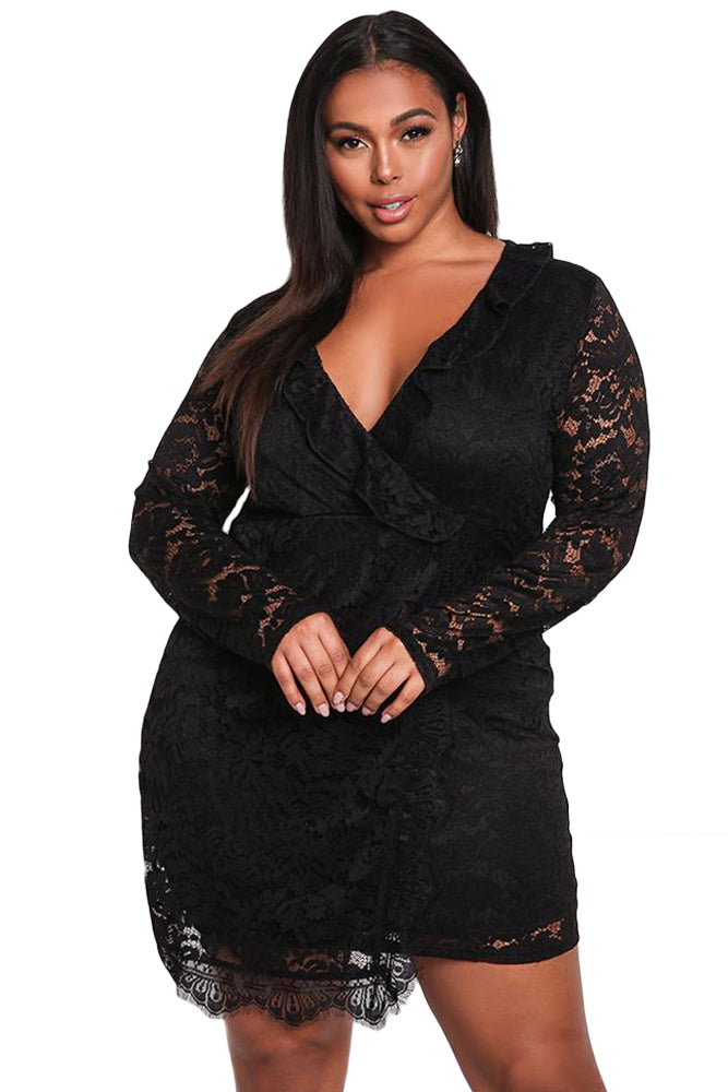 Black Plus Size Lace Faux Wrap Ruffle Dress
