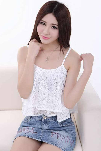 Sexy Flyaway Double Layer Cascading Ruched White Lace Crop Top