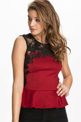 Red Floral Lace Applique Sleeveless Top - Online Women Tops