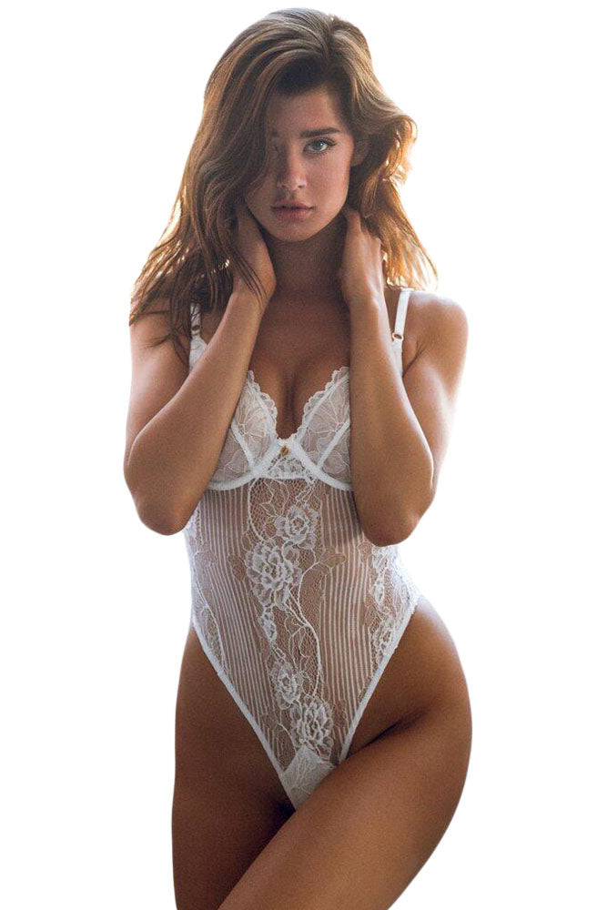 White Yummy Scalloped Lace Teddy Lingerie