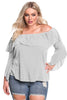 Gray Plus Size Layered Off Shoulder Gauze Blouse