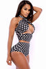 Black White Polka Dot High Waist Bathing Suit