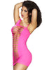 Pink Exposed Shredded Panels Chemise Dress Lingerie