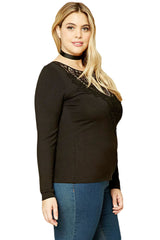 Long Sleeves Crochet Lace Top - Online Women Plus Size Dress