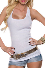 White Crochet Lace Back Tank Top