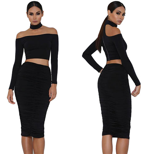 Black Sleeved Off Shoulder Choker Crop Top - Online Women Crop Tops