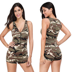 Sexy V-neck Sleeveless Camouflage Romper Shorts Bodysuit - Online Women Jumpsuits