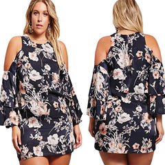 Cold Shoulder Floral Print Dress - Online Women Plus Size Dress