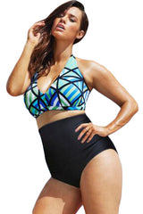 The Diva Beach Glass Plus Size High Waist Bikini