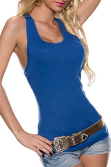 Blue Crochet Lace Back Tank Top
