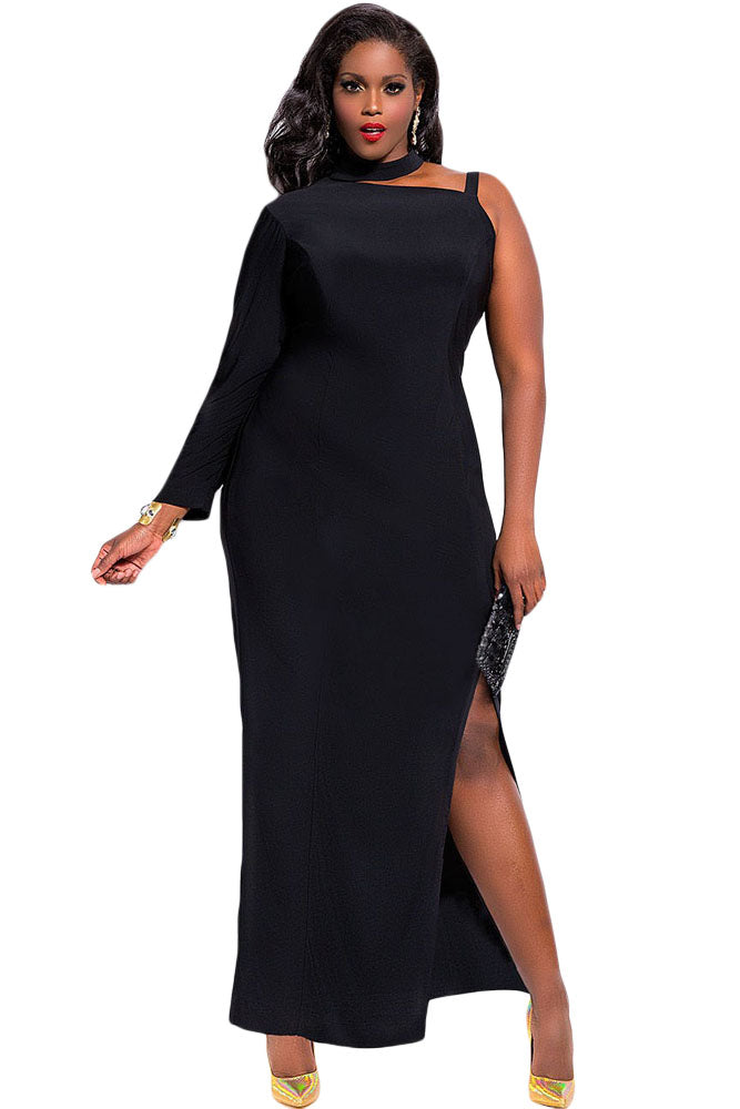 One Sleeve High Slit Maxi Dress - Online Women Plus Size Dress