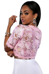 Baby Pink Floral Embroidered Crop Top