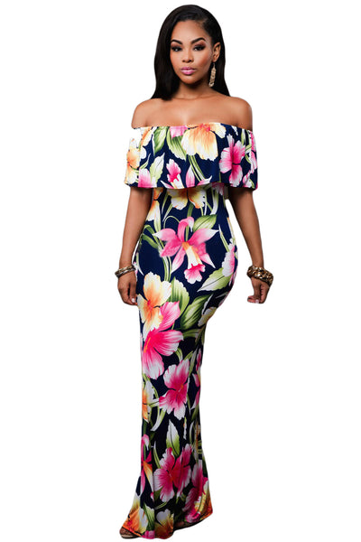 Navy Blue Roses Print Off-the-shoulder Maxi Dress