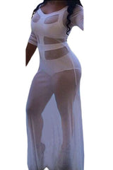 White Sultry See-through Cutout Gown - ONLINE WOMEN CLUB DRESSES