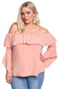 Pink Plus Size Layered Off Shoulder Gauze Blouse