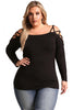Black Strappy Crisscross Cold Shoulder Plus Size Top