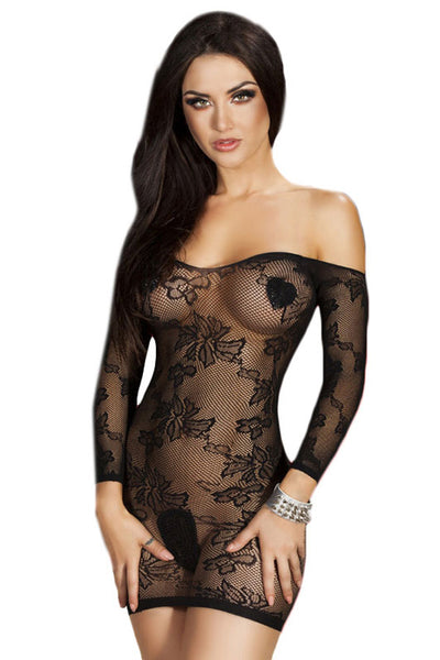 Sultry Off-shoulder Mesh Mini Chemise Dress