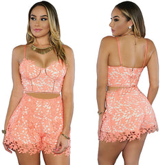 Pinkish Orange 2pcs Sexy Women Crop Top Shorts Set - Online Women Short sets