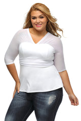 White Pretty Peplum Mesh Plus Size Top