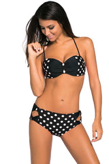 Black White Dots Bow Detail High Waist Bathing Suit